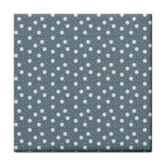 Floral Dots Blue Face Towel