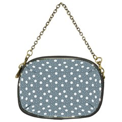 Floral Dots Blue Chain Purses (one Side)