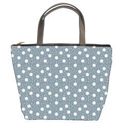Floral Dots Blue Bucket Bags