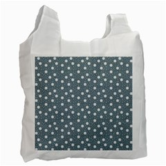 Floral Dots Blue Recycle Bag (two Side)