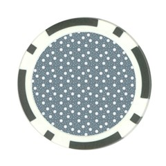 Floral Dots Blue Poker Chip Card Guard (10 Pack)