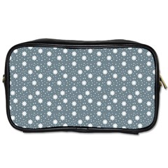 Floral Dots Blue Toiletries Bags 2 Side