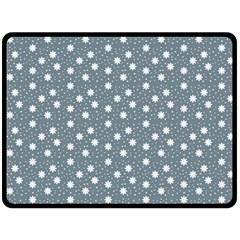 Floral Dots Blue Fleece Blanket (large)