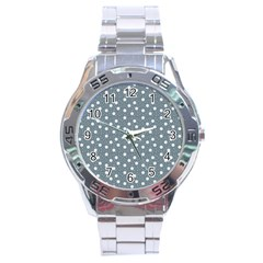 Floral Dots Blue Stainless Steel Analogue Watch