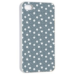 Floral Dots Blue Apple Iphone 4/4s Seamless Case (white)