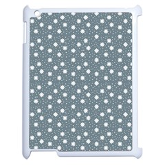Floral Dots Blue Apple Ipad 2 Case (white)