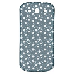 Floral Dots Blue Samsung Galaxy S3 S Iii Classic Hardshell Back Case