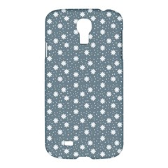 Floral Dots Blue Samsung Galaxy S4 I9500/i9505 Hardshell Case