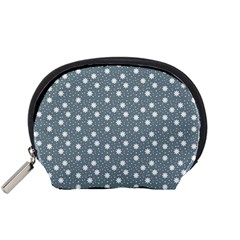 Floral Dots Blue Accessory Pouches (small)