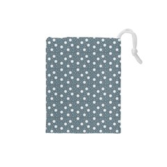 Floral Dots Blue Drawstring Pouches (small)