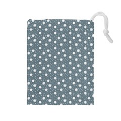 Floral Dots Blue Drawstring Pouches (large)