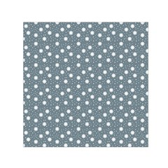Floral Dots Blue Small Satin Scarf (square)