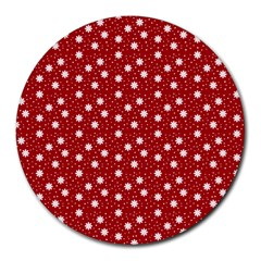 Floral Dots Red Round Mousepads
