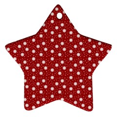 Floral Dots Red Ornament (star)