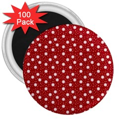 Floral Dots Red 3  Magnets (100 Pack)