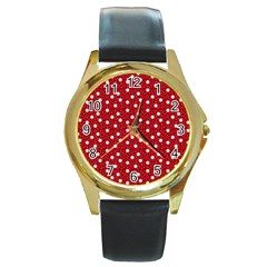 Floral Dots Red Round Gold Metal Watch
