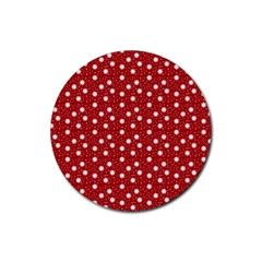 Floral Dots Red Rubber Round Coaster (4 Pack)
