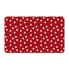 Floral Dots Red Magnet (rectangular)