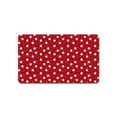 Floral Dots Red Magnet (name Card)