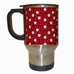 Floral Dots Red Travel Mugs (white)