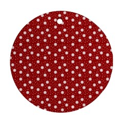 Floral Dots Red Round Ornament (two Sides)