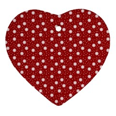 Floral Dots Red Heart Ornament (two Sides)