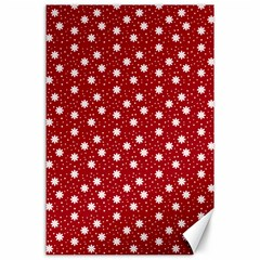 Floral Dots Red Canvas 24  X 36