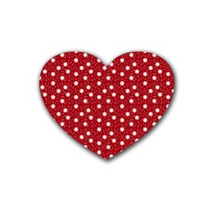 Floral Dots Red Rubber Coaster (heart)