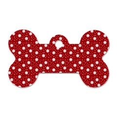 Floral Dots Red Dog Tag Bone (one Side)