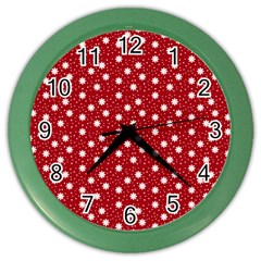 Floral Dots Red Color Wall Clocks