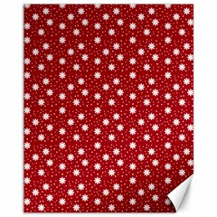 Floral Dots Red Canvas 11  X 14