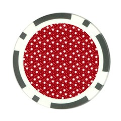 Floral Dots Red Poker Chip Card Guard (10 Pack)