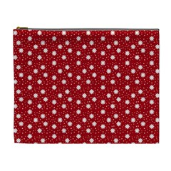 Floral Dots Red Cosmetic Bag (xl)