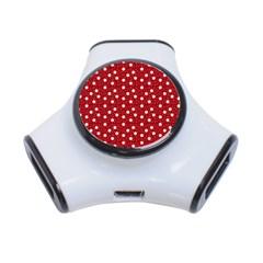 Floral Dots Red 3 Port Usb Hub