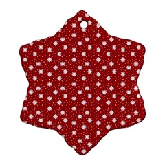 Floral Dots Red Ornament (snowflake)