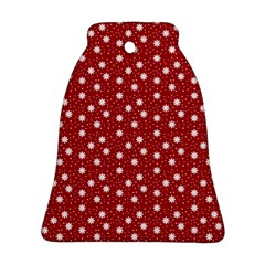 Floral Dots Red Bell Ornament (two Sides)
