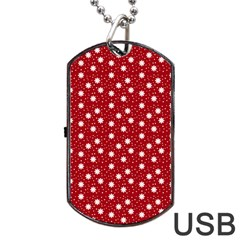 Floral Dots Red Dog Tag Usb Flash (one Side)