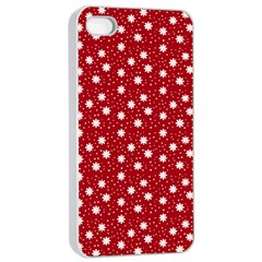 Floral Dots Red Apple Iphone 4/4s Seamless Case (white)