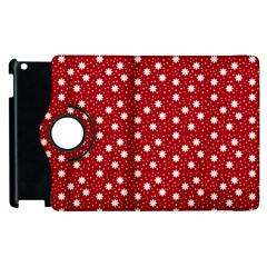 Floral Dots Red Apple Ipad 3/4 Flip 360 Case