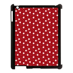 Floral Dots Red Apple Ipad 3/4 Case (black)