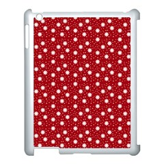 Floral Dots Red Apple Ipad 3/4 Case (white)