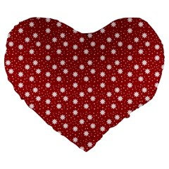 Floral Dots Red Large 19  Premium Heart Shape Cushions