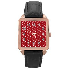Floral Dots Red Rose Gold Leather Watch