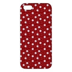 Floral Dots Red Apple Iphone 5 Premium Hardshell Case