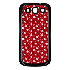 Floral Dots Red Samsung Galaxy S3 Back Case (black)