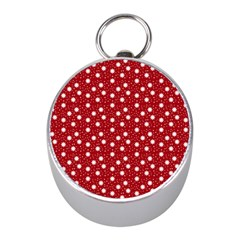 Floral Dots Red Mini Silver Compasses