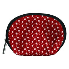 Floral Dots Red Accessory Pouches (medium)