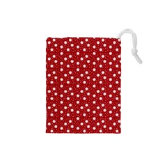 Floral Dots Red Drawstring Pouches (small)