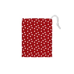 Floral Dots Red Drawstring Pouches (xs)