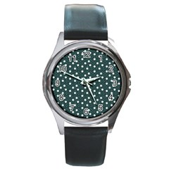 Floral Dots Teal Round Metal Watch